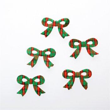 Текстильные дутые элементы бант красно зеленый