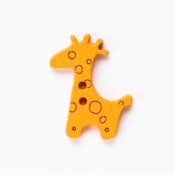 Пуговица деревянная Жираф оранжевая 25х20 мм