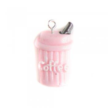 Кофе розовый. Подвески из полимерной глины микс цветов сладости