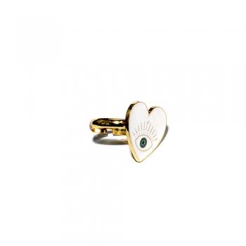 Металлическое кольцо Сердце белое