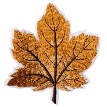 Тканевая нашивка Осенний лист оранжевый