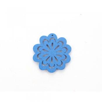 Дерев'яна підвіска Квітка ажурна Синя