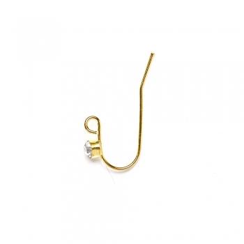 Швенза крючкообразная со стразом золотая