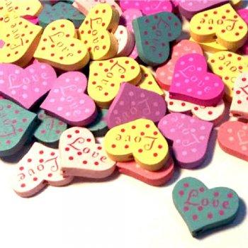 Намистина дерев'яна Серце з написом LOVE