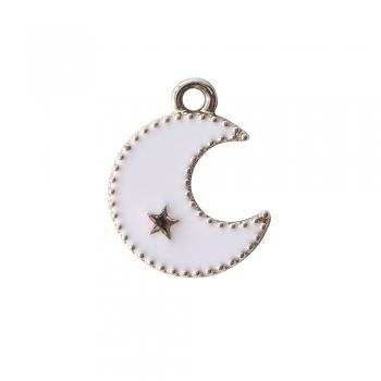 Металева підвіска з емаллю Місяць біла