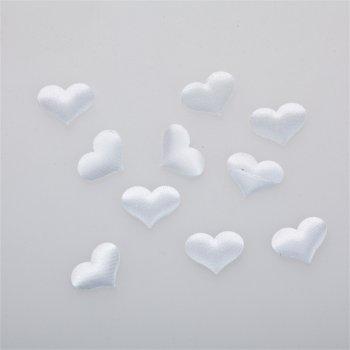 Серце. Текстильний дутий елемент, білий, 22х17 мм