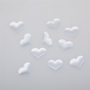 Сердце. Текстильный дутый элемент, белый, 22х17 мм