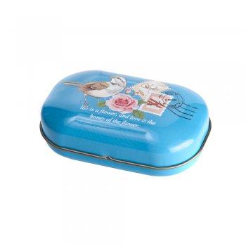 Коробочка жестяная 9 х 5,5 х 3,3 см голубая