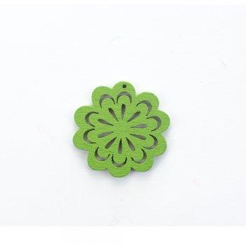 Дерев'яна підвіска Квітка ажурна Зелена
