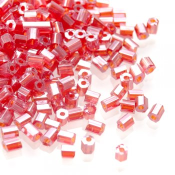 Бісер-рубка червоний блиск 2.1 мм циліндр скло