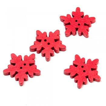Сніжини маленькі темно-червоні. ґудзики дерев'яні