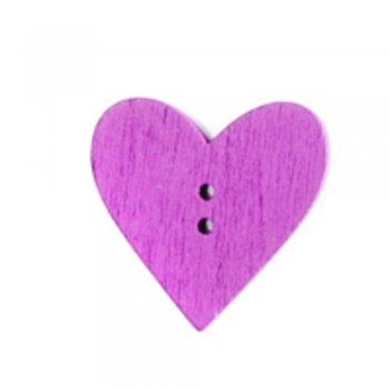 Серце, дерев'яний гудзик, фуксія, 24х24 мм