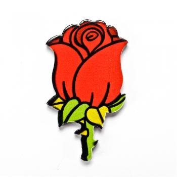 Троянда. Пластиковий клейовий елемент, 35 мм