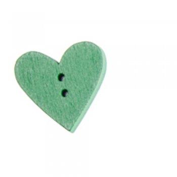 Пуговица деревянная зеленая сердце 24х24 мм