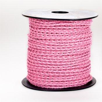 Шнур-косичка розовый кожзаменитель 3 мм