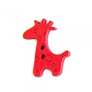 Пуговица деревянная Жираф красная 25х20 мм