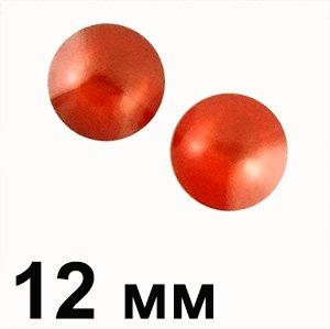 Пластикові кабошони червоний опуклий круг 12 мм
