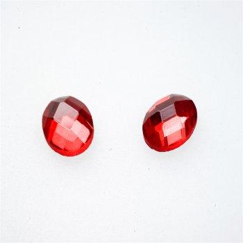 Стрази скляні клейові, червоні, 14х10 мм