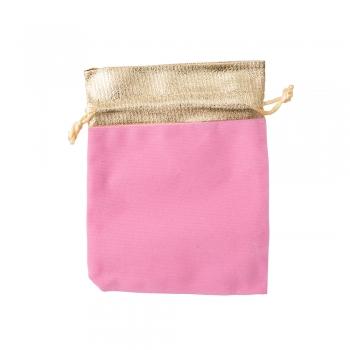 Декоративный мешочек бархатный 15х12 см розово-золотой