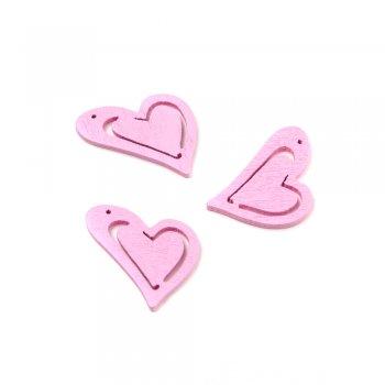 Подвески деревянные. Сердце розовое. Размер 25 * 23 мм.