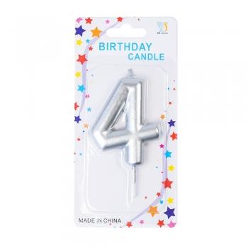 Свічка цифра 4 срібляста