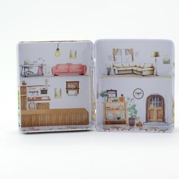 Жестяной контейнер в форме домика,6.6*5.7*3,6 см, шт