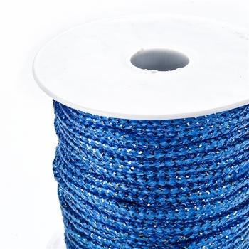 Шнур синий полиэстер с люрексом 3 мм