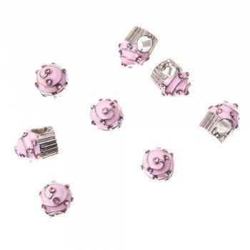 Металева намистина шарм LUX кекс рожевий