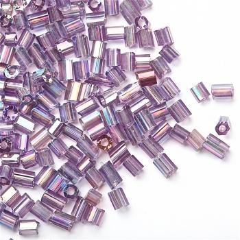 Бисер-рубка (2,1 мм) сиреневый прозрачный радужный