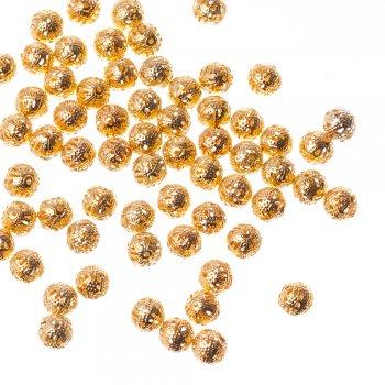 Ажурні намистини золотий 8 мм