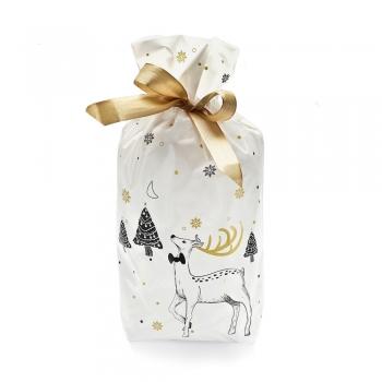 Пакет для подарков белый с оленем