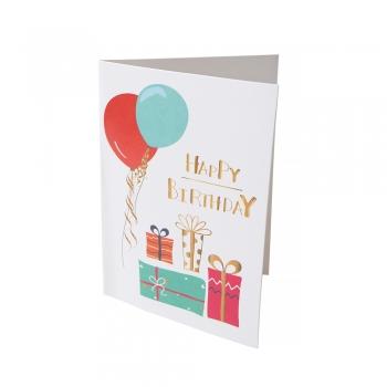Открытка 104х80 Happy Birthday подарки с шариками