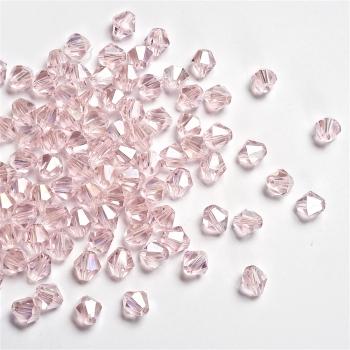Хрустальная бусина биконус 8 мм розовая прозрачная