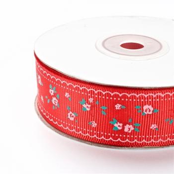 Лента репсовая 25 мм красная с цветами