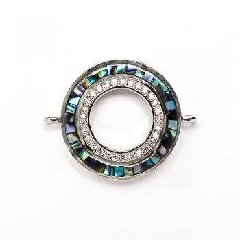 Соединительный элемент, переходник Lux круглый мельхиоровый с бензольными камнями