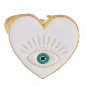 Металеве кільце Серце біле