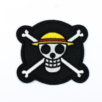 Нашивка Череп в желтой панаме Ван Пис