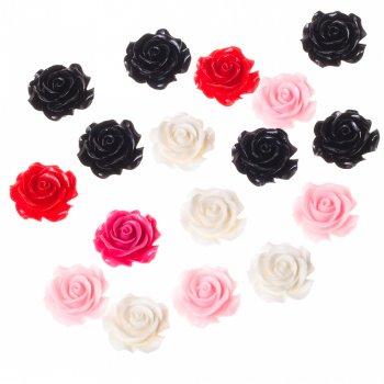 Роза, пластиковий клейовий елемент, мікс кольорів, 28 мм