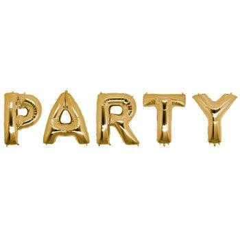 Шарики надувные в виде слова PARTY 40 см золото