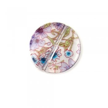 Полимерные бусины с цветочным узором. Круг маленький