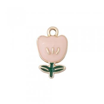 Металлическая подвеска с эмалью розовый тюльпан