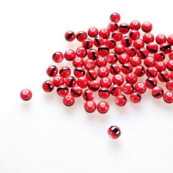 Намистина скляна 10 мм червона з чорною смугою