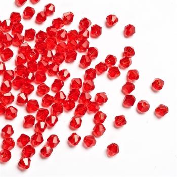 Хрустальная бусина биконус 6 мм красная прозрачная