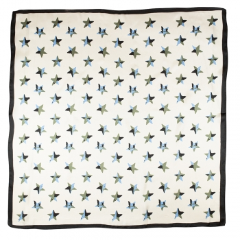Платок 70х70 см со звездами белый