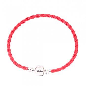 Браслети шарм з круглим замком косичка червона