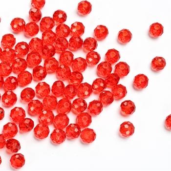 Хрустальная бусина рондель 8 мм красная прозрачная
