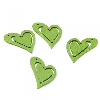 Подвески деревянные. Сердце зелёное. Размер 25 * 23 мм.