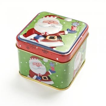 Коробочка жерстяна 7,5х7,5х6,5 см Санта з подарунком
