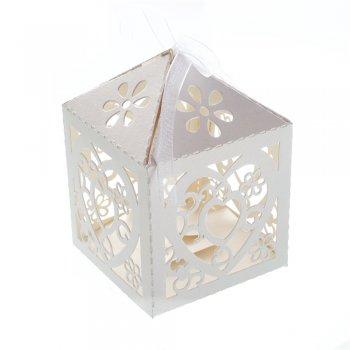 Коробочка картонная подарочная. Кремовый. 10 х 6 см