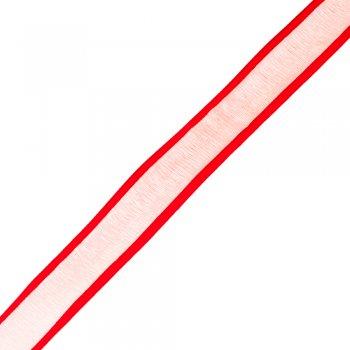 Лента из органзы с атласными краями 25 мм красный